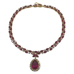 Austrian Vintage Necklace Georgian Style Faux Ruby & Diamond