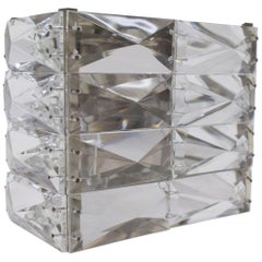 Austrian Vintage Nickel-Plated Crystal Glass Wall Light Sconce, 1960s