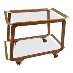 Austrian Walnut and Brass Bar Cart