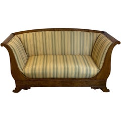 Austrian Walnut Biedermeier Rolled Arm Sofa