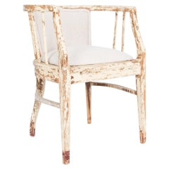 Austrian White Patinated Upholstered Armchair