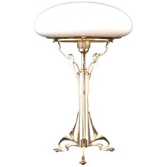 Austro-Hungarian Floral Jugendstil Brass&Opal Glass Table Lamp, Re-Edition