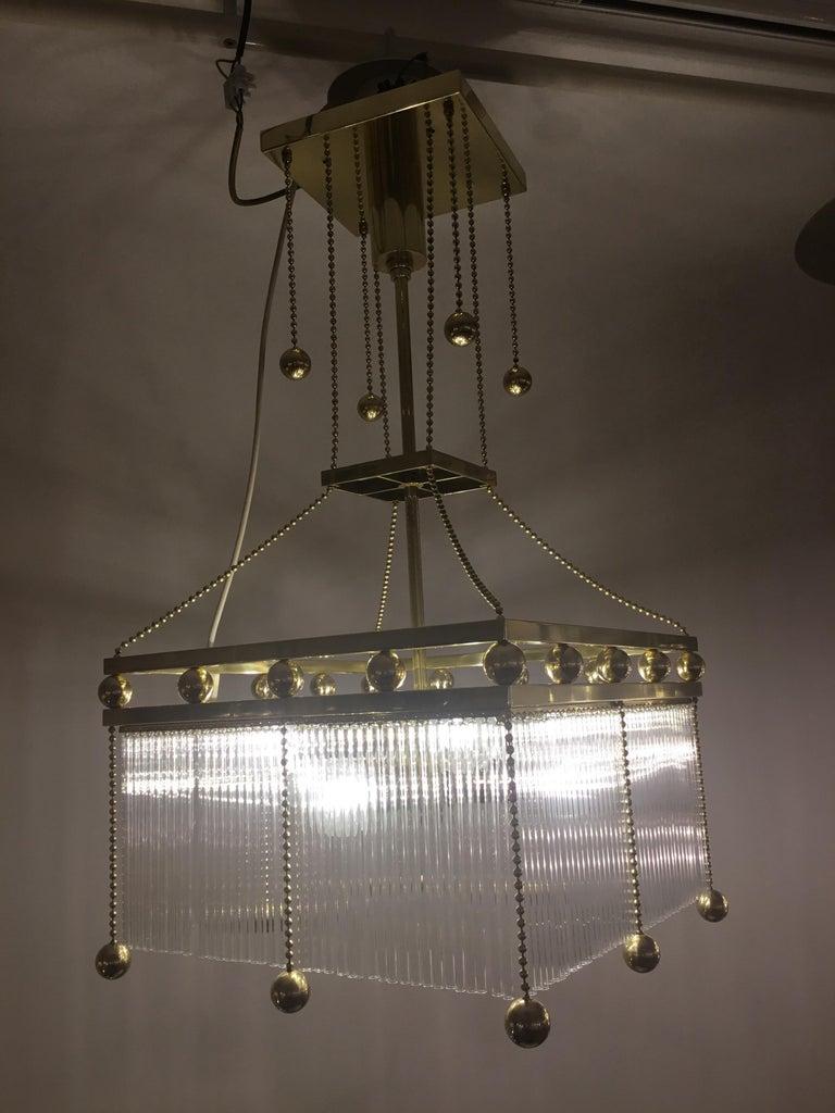Austrian Austro-Hungarian Jugendstil Crystal Glass n Brass Parlor Chandelier Re-Edition  For Sale