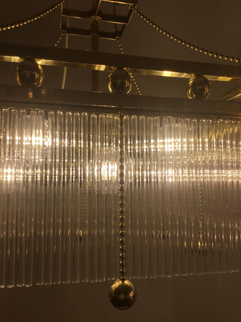 Hand-Crafted Austro-Hungarian Jugendstil Crystal Glass n Brass Parlor Chandelier Re-Edition  For Sale