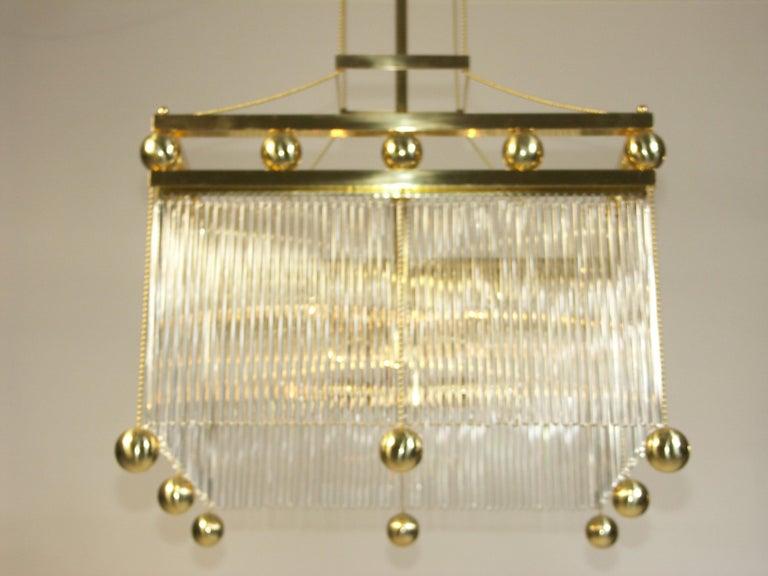 Contemporary Austro-Hungarian Jugendstil Crystal Glass n Brass Parlor Chandelier Re-Edition  For Sale