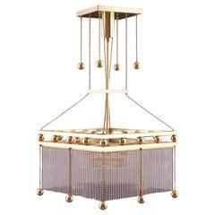 Austro-Hungarian Jugendstil Crystal Glass N Brass Parlor Chandelier, Re-Edition