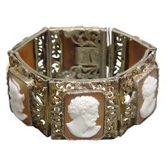 Austro Hungarian Roman Profile Cameo Filigree Bracelet