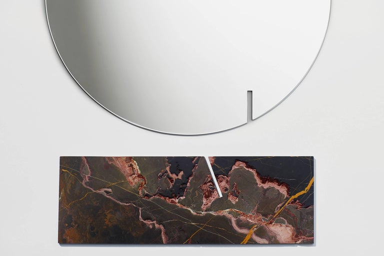 Autem Circle Table Mirror in Marble & Mirrored Glass, Contemporary Vanity Mirror In New Condition For Sale In New York, NY