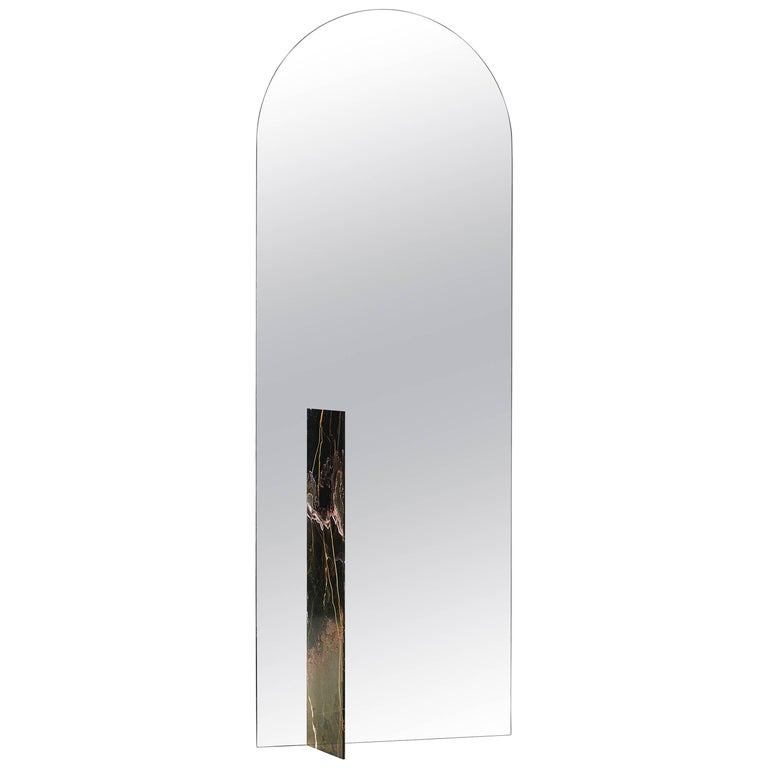 Autem Stand Alone Mirror Marble & Mirrored Glass Contemporary Full Length Mirror For Sale