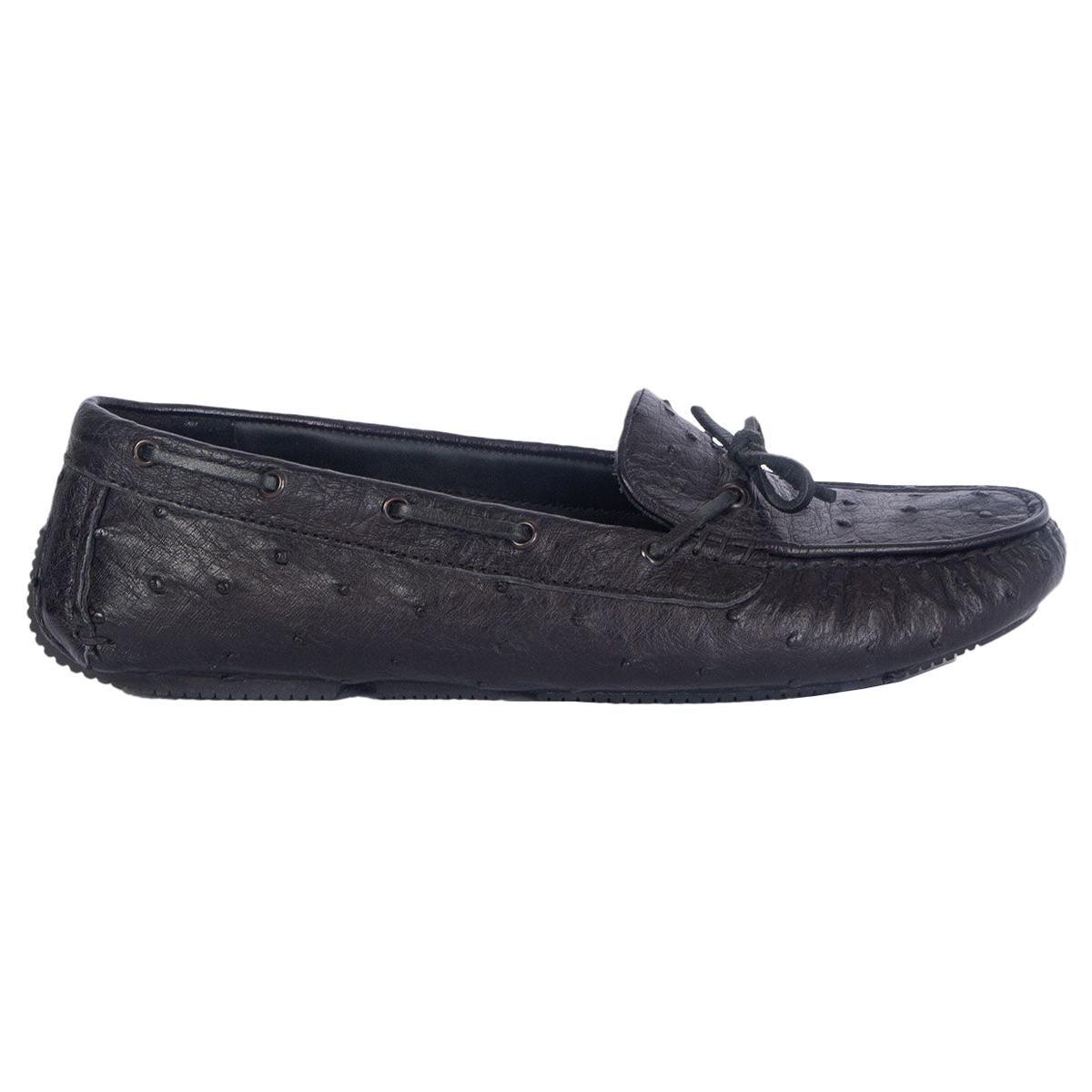 auth BOTTEGA VENETA black OSTRICH Loafers Flats Shoes 38