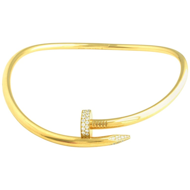 Auth Cartier Juste Un Clou Nail Necklace, 18 Karat Gold, Diamonds, LG. Model For Sale