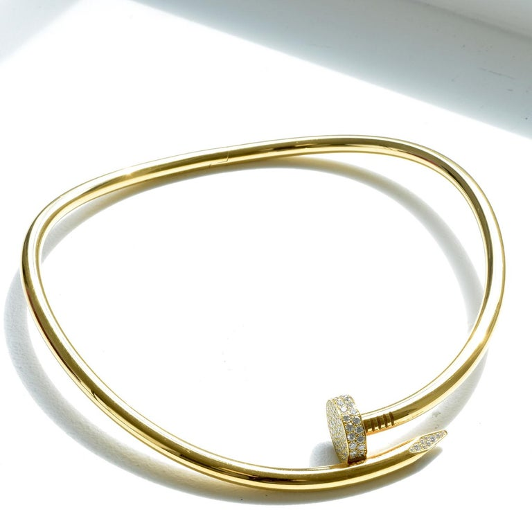 Round Cut Auth Cartier Juste Un Clou Nail Necklace, 18 Karat Gold, Diamonds, LG. Model For Sale