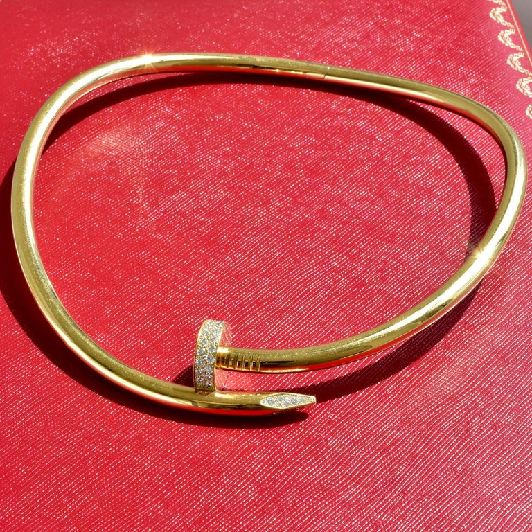 Women's or Men's Auth Cartier Juste Un Clou Nail Necklace, 18 Karat Gold, Diamonds, LG. Model For Sale