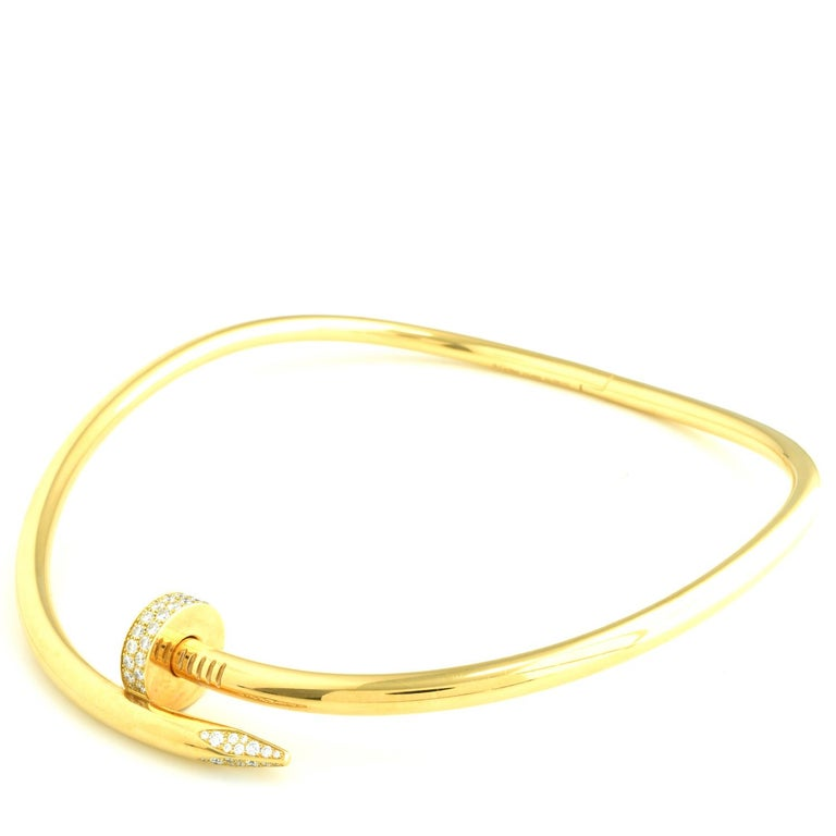 Auth Cartier Juste Un Clou Nail Necklace, 18 Karat Gold, Diamonds, LG. Model For Sale 1