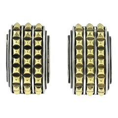 Auth Caviar 925 Sterling Silver and 18 Karat Gold 3 Raw Omega Back Earrings