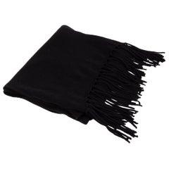 auth HERMES black cashmere SKINNY Muffler Scarf