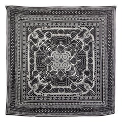 auth HERMES black EPERON d'OR 140 cashmere silk Shawl Scarf