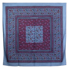auth HERMES blue CHASSE EN INDE 140 cashmere silk Shawl Scarf