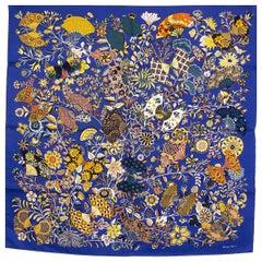 auth HERMES blue FLEURS ET PAPILLON DE TISSUS 90 silk twill Scarf