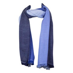 auth HERMES blue indigo navy cashmere COLORBLOCK Shawl Scarf