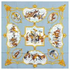 auth HERMES blue LES CHEVAUX DES MOGHOLS 90 silk twill Scarf