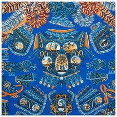 auth HERMES blue SOUS L'EDGIDE DE MARS 140 cashmere silk Shawl Scarf