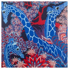 auth HERMES blue THE THREE GRACES 140 cashmere silk Shawl Scarf Bleu Rouge Blanc