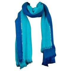 auth HERMES blue & turquoise cashmere LUREX STRIPE Shawl Scarf
