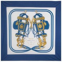 auth HERMES blue white BRIDES DE GALA 90 FLUID silk jersey Scarf