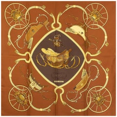 auth HERMES bronze brown SPRINGS 90 silk twill Scarf