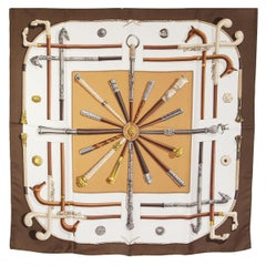 auth HERMES brown white CANNES ET PMMEAUX 90 silk twill Scarf