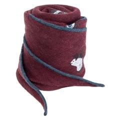 auth HERMES burgundy cashmere & silk MINI HORSES GRAND LOSANGE Scarf