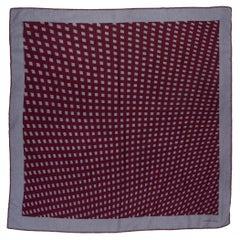 auth HERMES burgundy & grey cashmere silk GRID 70 Scarf