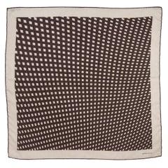 auth HERMES dark taupe & grey cashmere silk GRID 70 Scarf