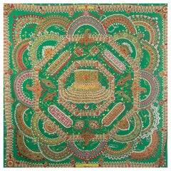 auth HERMES green PARURES DES MAHARAJAS 140 cashmere silk Shawl Scarf