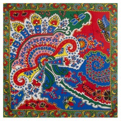 auth HERMES green red PAISLEY FROM PAISLEY 140 cashmere silk Shawl Scarf