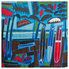 auth HERMES green SEA, SURF & FUN 140 silk Shawl Scarf