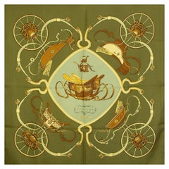 auth HERMES green SPRINGS 90 silk twill Scarf