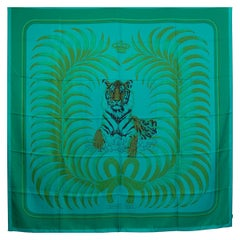 auth HERMES green TIGRE ROYAL 140 SURTEINT Dip Dye silk Scarf