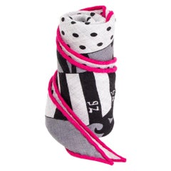 auth HERMES grey pink cashmere silk ASTROLOGIE NOUVELLE A POIS MED LOSANGE Scarf