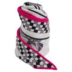 auth HERMES grey pink cashmere & silk HARNAIS FRANCAIS REMIX MED LOSANGE Scarf