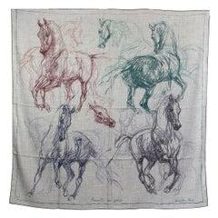 auth HERMES grey PIROUETTE AU GALOP 140 cashmere silk Shawl Scarf