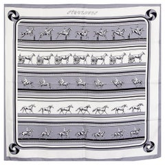 auth HERMES grey white SEQUENCES 90 silk twill Scarf
