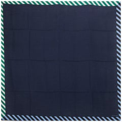 auth HERMES navy blue PALANQUE 140 cashmere silk Shawl Scarf