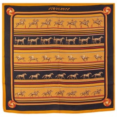 auth HERMES orange black SEQUENCES 90 silk twill Scarf