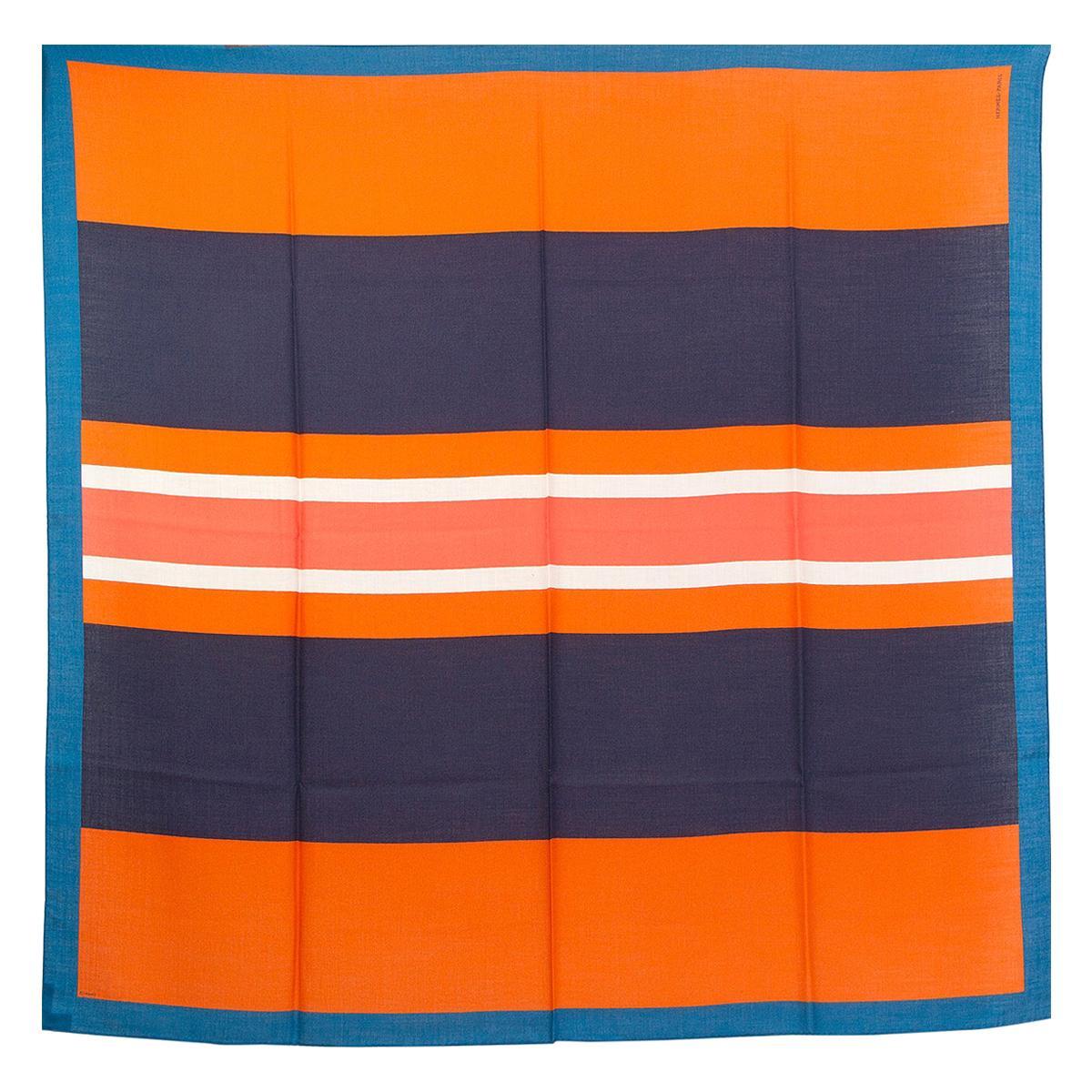 auth HERMES orange blue ENCADRE CLUB 140 cashmere silk Shawl Scarf