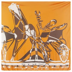 auth HERMES orange CALECHE ELASTIQUE 90 FLUID silk jersey Scarf