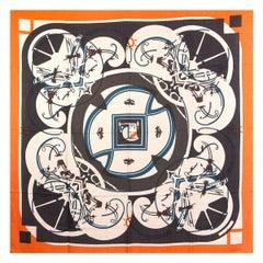 auth HERMES orange IMPRIMEUR FOU WASHINGTON'S CARRIAGE 140 cashmere Shawl Scarf