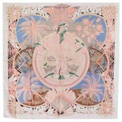 auth HERMES pink ALOHA 140 silk Shawl Scarf