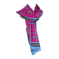 auth HERMES pink & blue cashmere & silk HORSE Oblong Shawl Scarf